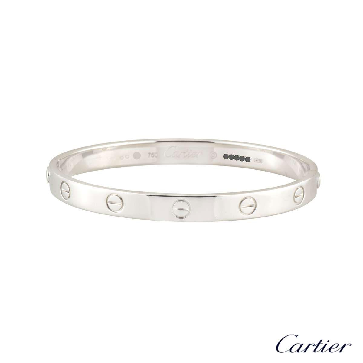 Cartier White Gold Plain Love Bracelet Size 16 B6035416